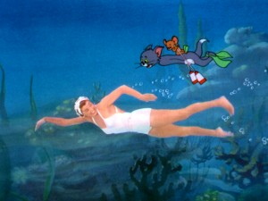 "Esther Williams shares the ocean with famous MGM cartoon characters Tom and Jerry in a 5-minute dream sequence in the middle of ""Dangerous When Wet."""