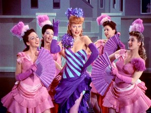 "Lucille Ball dons lots of purple for ""The Continental Polka"" as ditzy showgirl Gladys in ""Easy to Wed."""