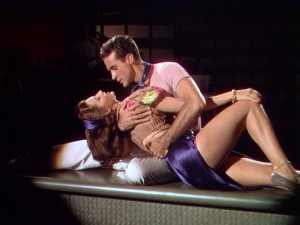 "Ricardo Montalban and Cyd Charisse embrace after a passionate dance in ""On an Island With You."""