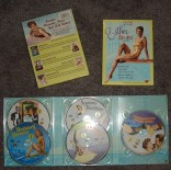 The front and back covers of Esther Williams DVD Collection, Volume 1, plus a look at the five discs' artwork inside. (Forgive the flash!)