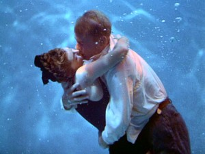 "True love doesn't need to rise to the surface for air. Esther Williams and Van Johnson hug and kiss underwater in ""Easy to Wed."""