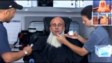 "In ""Becoming Noah"", time-lapse photography quickly shows the elaborate make-up and wig work needed to transform Steve Carell into a wild-haired, white-bearded Evan."
