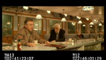 This 94-year-old actor can't keep himself from breaking character and telling Robert De Niro how much he admires his work in this extended version of their diner scene.