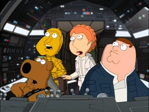 "Chewbacca (Brian), C-3PO (Quagmire), Princess Leia (Lois), and Han Solo (Peter) are aboard ""Family Guy""'s Millennium Falcon."