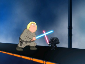 Luke Skywalker (Chris Griffin) and Darth Vader (Stewie Griffin) engage in a lightsaber duel across a busy space highway, where traffic and rules of sportsmanlike conduct interrupt their tension.