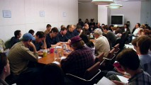 "The table read for ""Something, Something Something, Dark Side"" is a joy to listen to, but listen is pretty much all that you'll do -- the camera angle doesn't change from what you see here. Can you find Seth MacFarlane? Me neither."