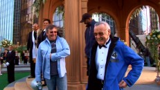 It wouldn't be a real Marvel movie without Stan Lee! The co-creator of the Fantastic Four drops by to film his cameo for the rooftop wedding scene.