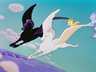"A notably different Pegasus than what some Disney fans expect is seen here gliding over Mount Olympus in ""The Pastoral Symphony."""