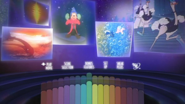 Fantasia's colorful main menu puts us in a virtual orchestra pit, surrounded by rotating clips from the film.
