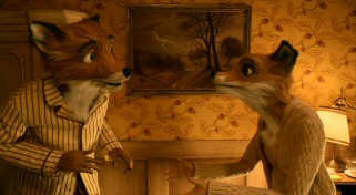 Mr. and Mrs. Fox (George Clooney and Meryl Streep) are startled out of bed by the sound of farmers trying to dig out their family. Between them hangs one of Mrs. Fox's trademark lightning storm paintings.