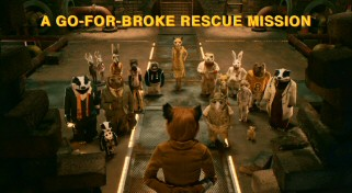 The font may be different, but the color is the same. Yellow onscreen text, a staple of Wes Anderson cinema, regularly appears. Here, crafty Mr. Fox hatches another group plan.