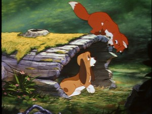 The fox and the hound meet for the first time.