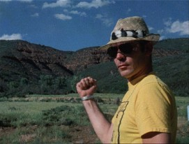 "In his adopted Colorado home, Hunter S. Thompson explains his desire for a double-thumbed fist monument in the 1978 BBC Omnibus program ""Fear and Loathing on the Road to Hollywood."""
