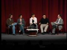 Reeves, Russell, Garner, Abrams (left to right) discuss creating and portraying television characters.