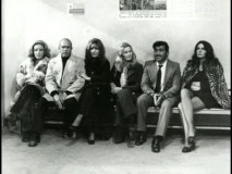 "The cast assembled for the penultimate scene of ""Caliber 9"" appear in this image from the photo gallery, enhanced by a Gastone Moschin phone interview."