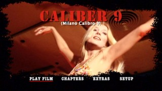 "Go-go dancer Nelly (Barbara Bouchet) shakes what she's got in the ""Caliber 9"" DVD main menu montage."