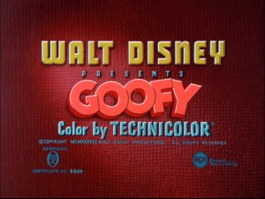 This Goofy cartoon title card precedes six of the seven shorts on this disc.