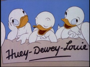 Our first glimpse of Donald's nephews -- what little angels they are...or so we're led to believe.