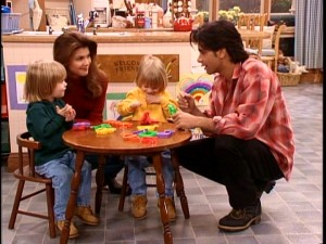 "By Season 7, the Tanners aren't the only family at the focus of ""Full House."" Jesse (John Stamos, right), Rebecca (Lori Loughlin, second from left) and twins Nicky and Alex (Dylan and Blake Tuomy-Wilhoit) get a lot of screentime."
