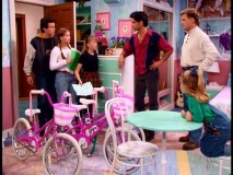 "Steve, D.J., and Stephanie are surprised to find not one, not two, but three hot pink bicycles in Michelle and Stephanie's room. (And when I say ""hot"", I mean ""hot."")"