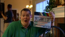 "This clapboard holder seems pretty pleased with the wacky face he shares in ""Firegoofs/Jokes and Pranks."""