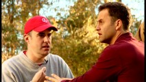 "Alex Kendrick directs Kirk Cameron in ""Fireproof: Behind the Scenes."""
