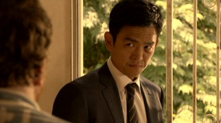 What would Roldy do? Demetri Noh (John Cho) considers the implications when a bong-possessing man claims his future is in the federal agent's hands.