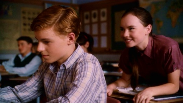 Juli (Madeline Carroll) takes pleasure in a classroom whiff of Bryce's (Callan McAuliffe) blonde hair. It smells like watermelon.