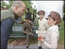 Director Marc Forster provides guidance to a young actor.