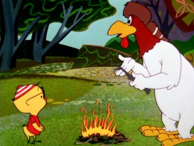 "The original fullscreen version of this ""Crockett-Doodle-Do"" keeps Egghead Jr., this campfire, and Foghorn Leghorn all in view."