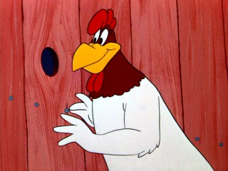 "Barnyard bigmouth Foghorn Leghorn tries his hand at an act of kindness and has it  backfire in the 1959 Looney Tunes short ""A Broken Leghorn."""