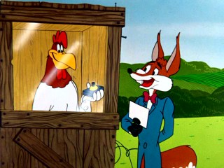 "With a game show setup, this sharp-dressed fox slyly uses Foghorn Leghorn to blow up Barnyard Dawg in ""Fox-Terror."""