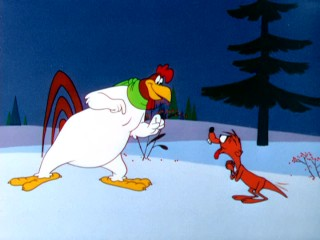 Foghorn finds a way to make playing in the snow even more fun, by getting Bill the weasel to pursue Barnyard Dawg.