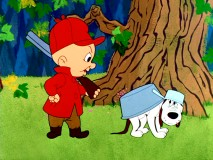 "TV has made Elmer Fudd's dog Rover fearful and overprotective in ""A Mutt in a Rutt."""