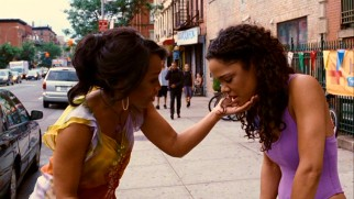 Dance instructor Yasmine/Yellow (Anika Noni Rose) checks on her star pupil Nyla (Tessa Thompson) who has stepped outside for meaningful morning sickness.