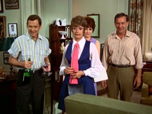 "Moving their date from the laundry room back to the apartment, Felix (Tony Randall), Oscar (Jack Klugman), and the Pigeon Sisters (Monica Evans, Carole Shelley) are surprised to see one Poker Night straggler in ""The Odd Couple"" premiere ""The Laundry Orgy."""