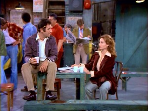 "Alex (Judd Hirsch) explains the situation with his daughter to Sunshine's newest cab driver Elaine (Marilu Henner) in ""Taxi"" pilot ""Like Father, Like Daughter."""
