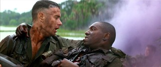 In the most perilous stretch of his Army stint in Vietnam, Forrest (Tom Hanks) carries his best friend Benjamin Buford Blue (Mykelti Williamson), better known as Bubba, to what he hopes is safety.