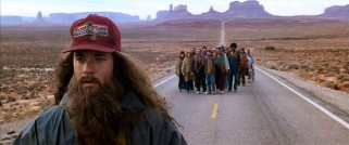 Having run back and forth across America for 3 years, 2 months, 14 days, and 16 hours, a shaggily-bearded Forrest (Tom Hanks) suddenly calls it quits in front of his inspired followers.