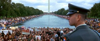 Forrest prepares to speak extemporaneously about the War in Vietnam to an enormous crowd of protestors gathered the National Mall in Washington D.C.