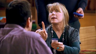 Brad's hippie mother Paula (Sissy Spacek) gives personal clues to the friend of her son's who is now her husband.