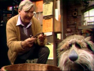 Eccentric inventor Doc (Gerry Parkes) claims the horseshoe found by his dog Sprockett isn't special, but he'd still like to trade for it.