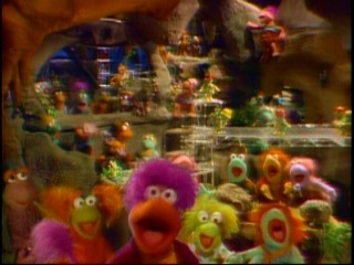 Dance your cares away / Worries for another day / Let the music play / Down at Fraggle Rock / Down at Fraggle Rock / Down at Fraggle Rock