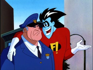 Freakazoid chats with Sergeant Cosgrove, a policeman voiced by Ed Asner whose non sequiturs are one of the series' comedy staples.
