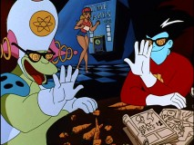 Oafish alien Bo-Ron and Freakazoid admire sights with their X-ray glasses, while Freakalair worker Steff clocks out.