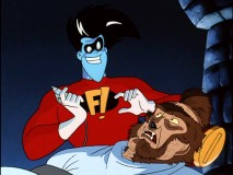 Freakazoid aids a werewolf visitor with a shave and a haircut (two bits).