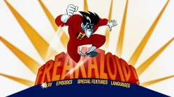This static 16x9 enhanced main menu graces all three disc sides with the sounds of the Freakazoid theme tune.