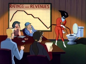 To a caricature of Steven Spielberg and fellow crew members, Freakazoid accurately predicts the path of his show's ratings and revenues. Breaking the fourth wall is fun.