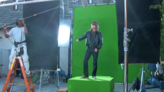 "Lucas Cruikshank appears as cool, deep-voiced imaginary alter ego Derf in front of green screen in ""Fred's First Film: Sam Dude, Big Crew."