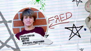 Fred appears among stars, scribbles, and splatters on the DVD's animated notebook paper main menu.